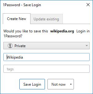 Adding login entry using 1Password