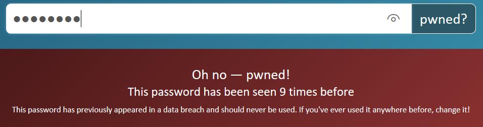 Password found 9 times